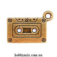 "Метал. подвеска ""касета"" бронза (2,4х1,3 см) 5 шт в уп."