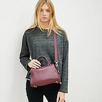 Женская сумка кожаная маленькая бордовая 8703