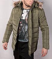Куртка мужская хаки.Мужская куртка-пальто с мехом на капюшоне.ТОП КАЧЕСТВО!!!