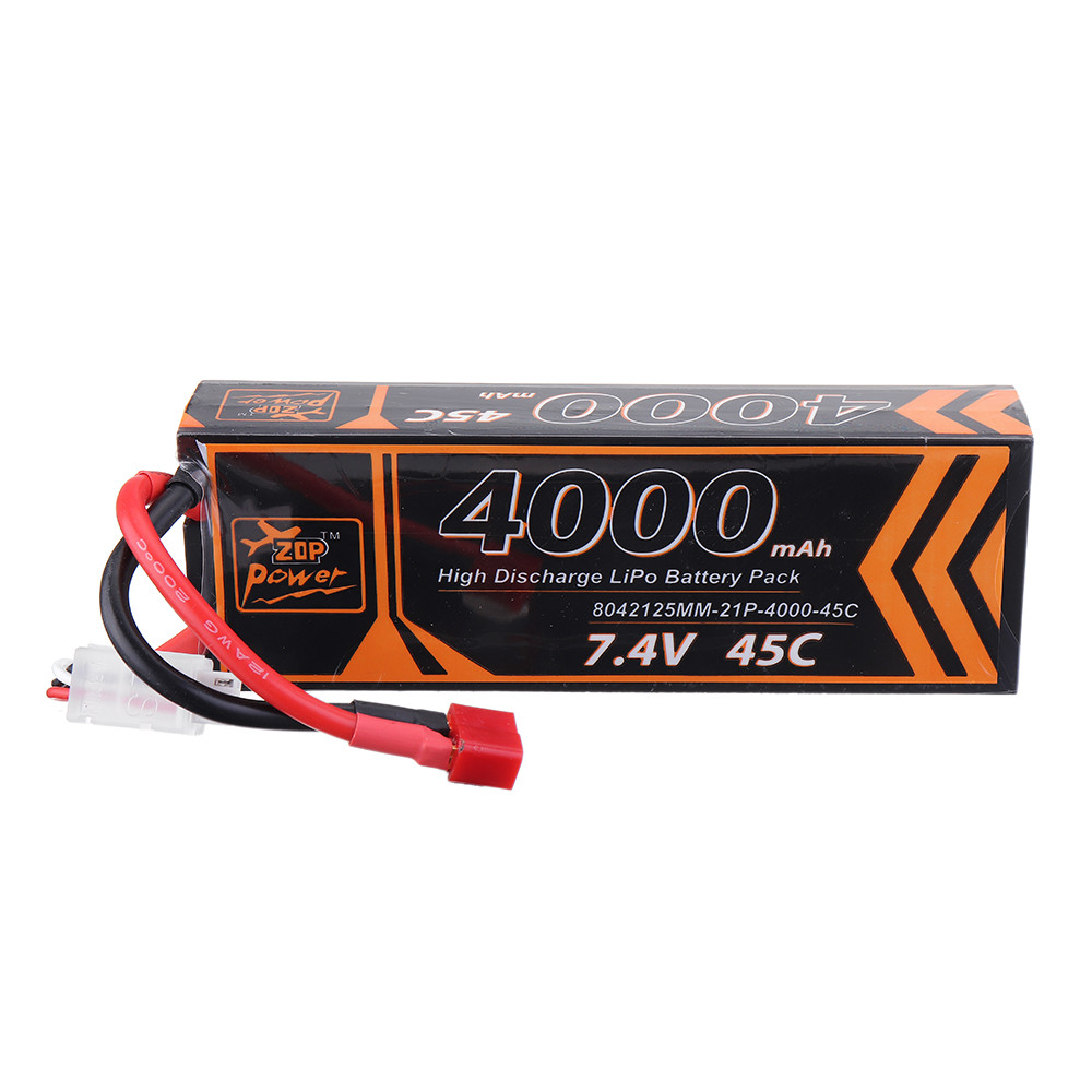 ZOP Power 7.4V 4000mAh 45C 2S Lipo Батарея T Plug для RC Авто - 1TopShop