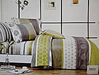 Сатиновое постельное белье евро ELWAY 5022 «Полоски и абстракция»
