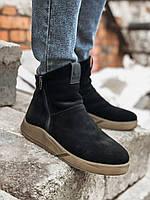 Мужские зимние ботинки черные замша Gross 6256.19