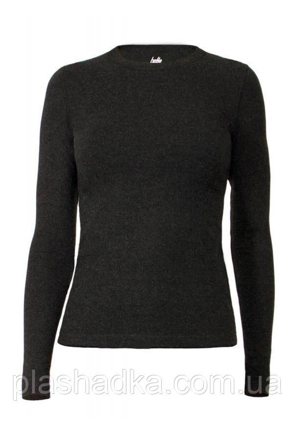 Женский термо-джемпер с шерстью,  цвет темно-серый