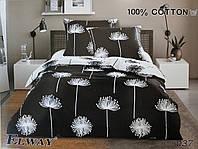 Сатиновое постельное белье евро ELWAY 5037 «Одуванчики на черном»