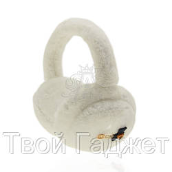Наушники теплые женские с мишкой на пуговичке белые