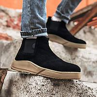 Мужские зимние ботинки черные замша Gross 6583