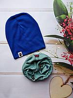 Стильные трикотажные детские наборы шапка+хомут, снуд, фото 1