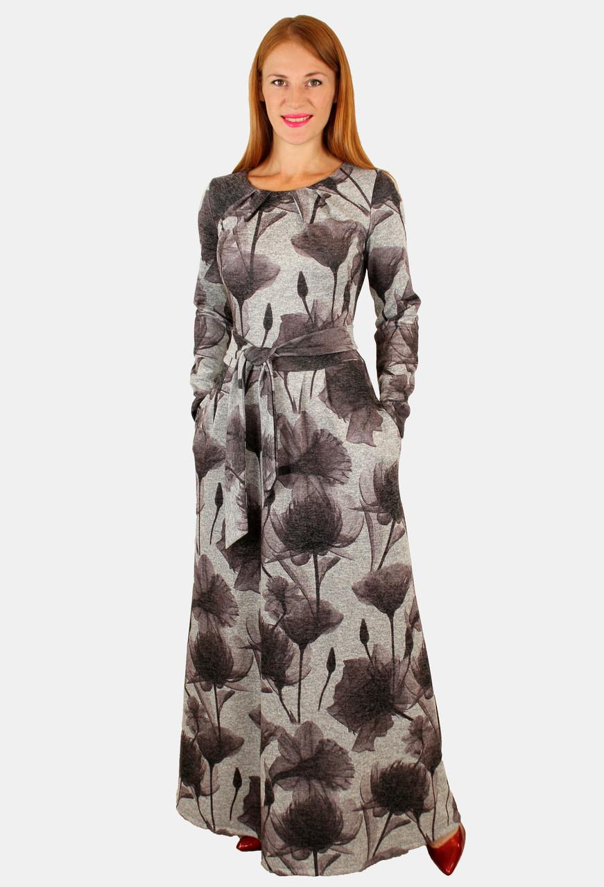 Теплое длинное платье с принтом 48-50 р