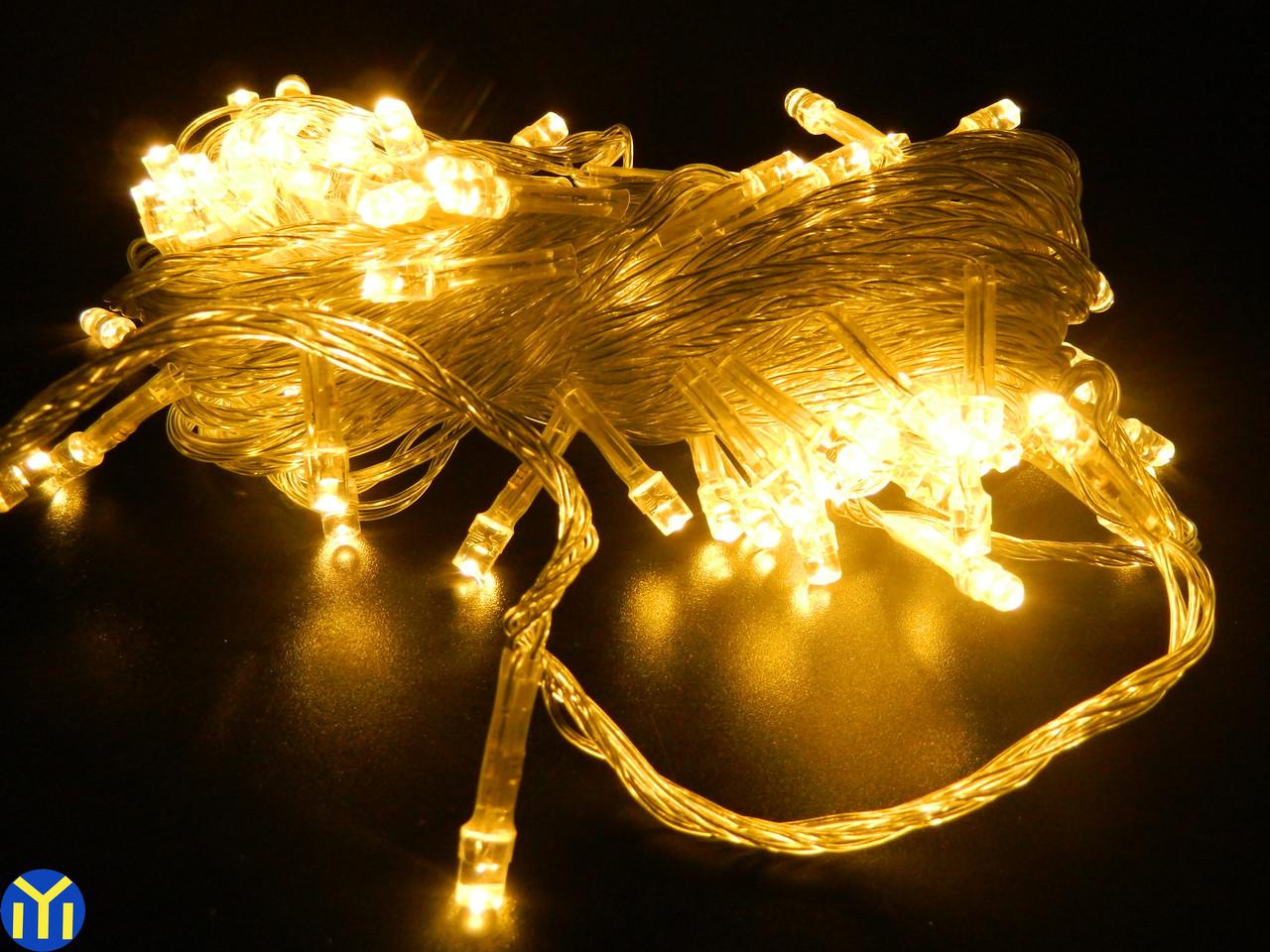 Гирлянда новогодняя нить Желтая, 200LED, 16м.