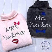 Парные именные халаты для мужчины и женщины Elite (банные махровые, семейный комплект)