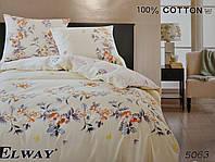 Сатиновое постельное белье евро ELWAY 5063 «Цветочки»