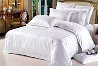 Белое постельное белье с страйп сатина