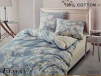 Сатиновое постельное белье евро ELWAY 5065 «Листочки»