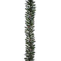 Гирлянда 270 см. декоративная Empress зеленая с инеем и шишками, Triumph Tree