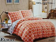 Сатиновое постельное белье евро ELWAY 5066 «Абстракция»