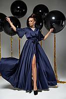 Модное вечернее женское платье шёлковое синее, размеры от 42 до 50, макси