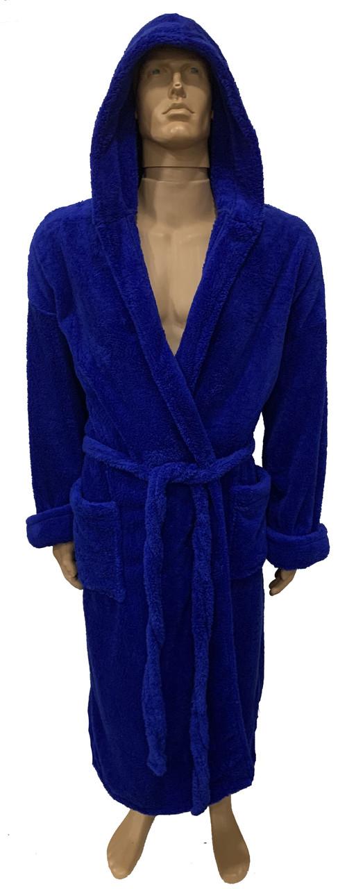 Халат мужской банный синий (M,XL)