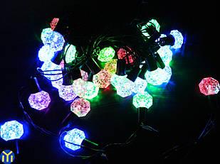 Гирлянда новогодняя нить, Кристаллы Разноцветные, 40LED, 5м.