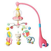 Детская музыкальная карусель (мобиль), 21 мелодия, розовая подножка, на кроватку BA6760