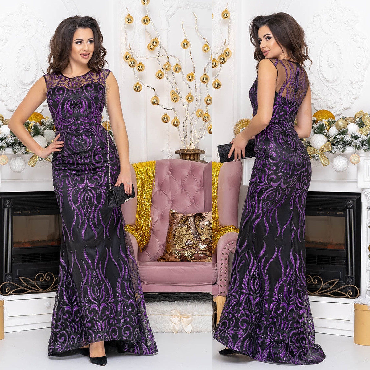 "Вечернее платье русалка со шлейфом размер S ""Арабика"""