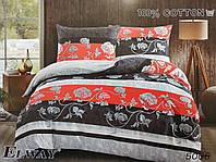 Сатиновое постельное белье евро ELWAY 5068 «Абстракция»