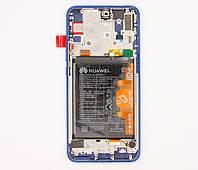 Дисплей, Blue в сборе с сенсорным экраном, рамкой и аккумуляторной батареей Huawei P Smart Z (STK-LX1), оригинал