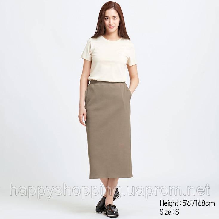 Женская оливковая миди-юбка Uniqlo (Размер - S)