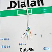 Кабель витая пара Dialan UTP Cat5E 4PR Cu 0,48 мм PVC Indoor 305 м