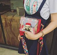 Яркая прозрачная маленькая женская сумка через плечо, красная, фото 1