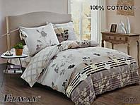 Сатиновое постельное белье евро ELWAY 5070 «Цветочный принт»