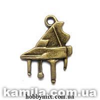 """Метал. подвеска """"рояль"""" бронза  (1,5х2 см) 12 шт в уп."""