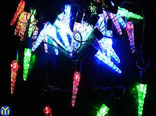 Гирлянда новогодняя нить, Сосульки Разноцветная, 40 LED, 5м.