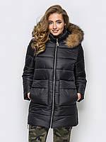 Черная зимняя женская куртка с меховым капюшоном