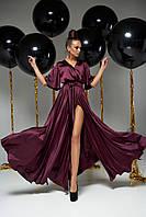 Элегантное вечернее женское платье шёлковое марсала, размеры от 42 до 50, макси