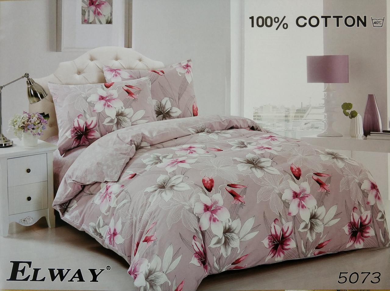 Сатиновое постельное белье евро ELWAY 5073 «Цветы»
