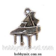 """Метал. подвеска """"рояль"""" серебро  (1,5х2 см) 12 шт в уп."""