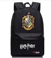 Рюкзак Гарри Поттер Хогвартс с гербом факультетов Hufflepuff чёрный