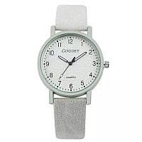 Часы женские Gogoey наручные кварцевые с белым эко-кожаным ремешком.