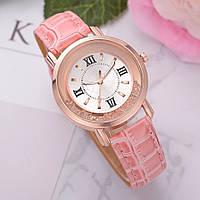 Часы женские Gogoey наручные кварцевые с розовым эко-кожаным ремешком.