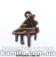 """Метал. подвеска """"рояль"""" медь  (1,5х2 см) 12 шт в уп."""