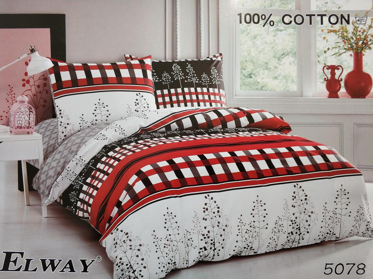 Сатиновое постельное белье евро ELWAY 5078 «Клетка»