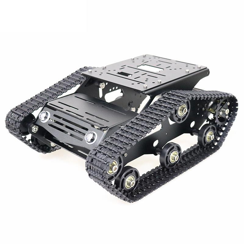 YP100 Wifi/Bluetooth Версия Black Metal с подвижным шасси Танковая гусеница Авто Набор + 2шт. 12В 300 об / мин DC Мотор с датчиком Холла - 1TopShop