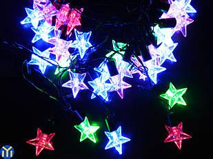 Гирлянда новогодняя нить, Звезды Разноцветная, 40LED, 5м.
