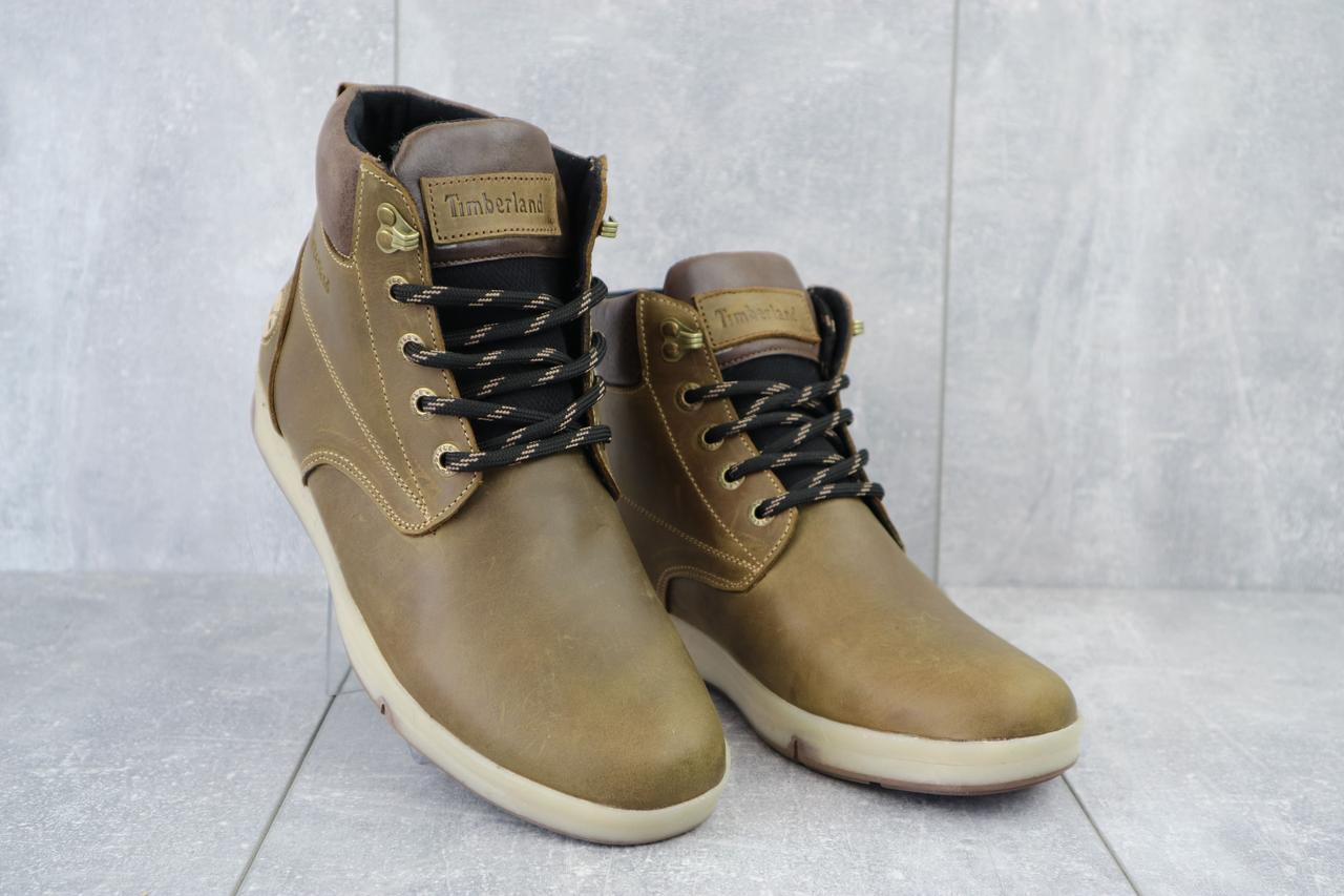 Мужские ботинки кожаные зимние оливковые Yuves 772 Oliv