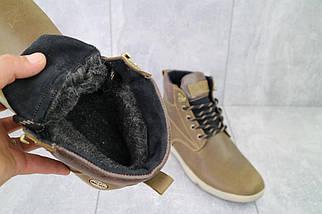 Мужские ботинки кожаные зимние оливковые Yuves 772 Oliv, фото 2