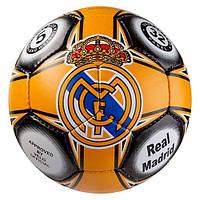 Мяч футбольный РЕАЛ МАДРИД REAL MADRID 5 размера для улицы сшитый вручную оранжевый (СМИ GR4-455M/5), фото 1