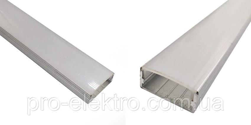 ПФ-25 Профиль широкий накладной полуматовый 2М комплект:4 заглушки с отверстием+4 крепеж металл 1017977