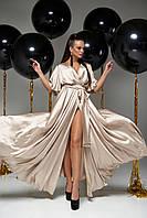 Красивое вечернее женское платье шёлковое бежевое, размеры от 42 до 50, макси