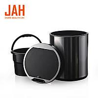 Сенсорное мусорное ведро JAH 6 л круглое черный металлик с внутренним ведром, фото 1