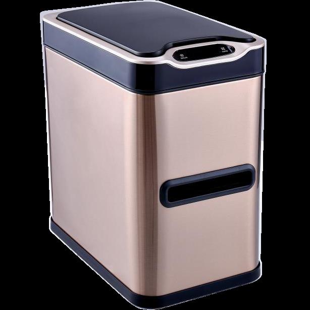 Сенсорное мусорное ведро JAH 7 л прямоугольное розовое золото с внутренним ведром